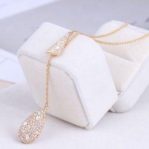 Alexis Bittar NWOT Gold Teardrop Lariat Necklace